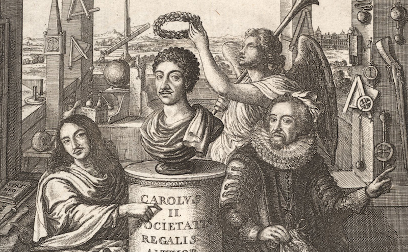 A 1667 frontispiece to Sprat's history of the Society. Credit: Wenceslaus Hollar