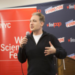 """Brian Greene introduces """"When Science Gets Graphic"""" at New York Comic Con."""