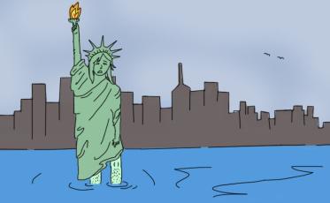 statue of liberty sinking
