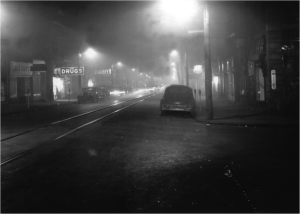 Donora, Pennsylvania at noon, October 1948.