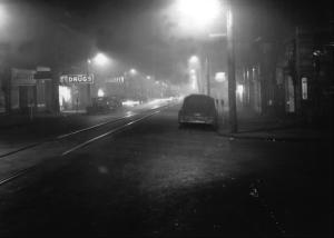 Donora, Pennsylvania at noon, October 1948.
